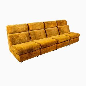Vintage Orange-Brown Velvet 4-Seat Sofa, 1960s