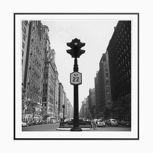 NY Lights Silver Fibre Gelatin Print Framed in Black by Slim Aarons
