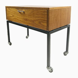 Small Vintage Wooden Cabinet with Steel Frame on Wheels, 1970s
