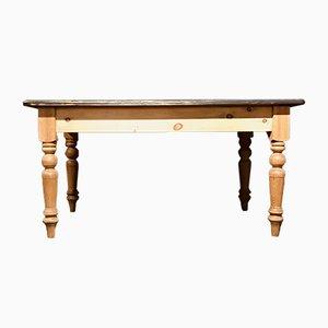 Kiefernholz Farmhaus Tisch mit Schublade und Tischplatte in Farrow & Ball Optik