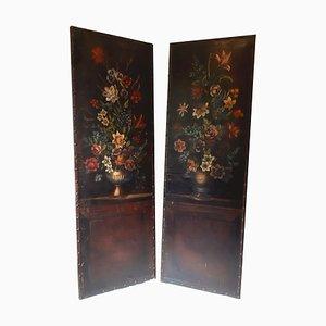 Paneles de pared arquitectónicos con bodegones florales sobre cuero, años 40