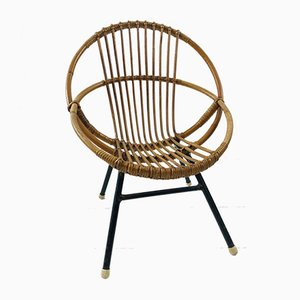 Dutch Rattan Children's Chair from Rohé Noordwolde, 1958