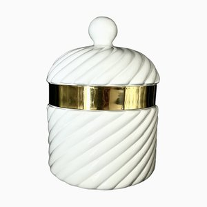 White Ice Bucket by Tommaso Barbi for B Ceramiche, 1970s