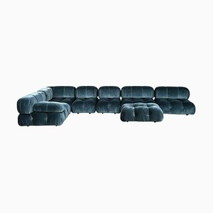 Blue Velvet Camaleonda Modular Sofa by Mario Bellini for B&B Italia / C&B Italia, 1976, Set of 7