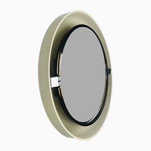 Specchio Space Age bianco e marrone in plastica con dettagli cromati di Allibert, Germania, anni '60