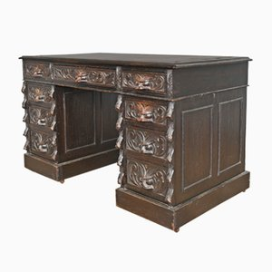 English Carved Oak Green Pedestal Desk