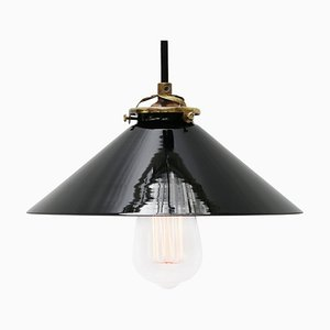 Black Opaline Glass French Brass Pendant Light