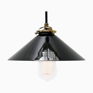 Lampe à Suspension en Verre Opalin Noir, France