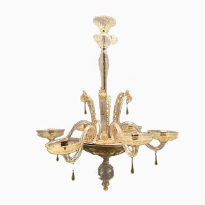 Large Art Deco Venetian Murano Glass Chandelier