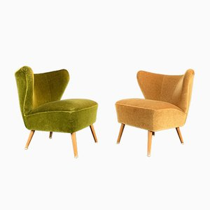 German Moss Green & Mustard Cocktail Chairs, 1950s, Set of 2