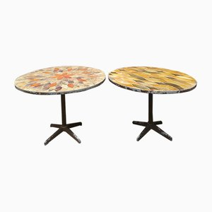 Round Tables with Vallauris Ceramic & Metal Base, 1940s, Set of 2