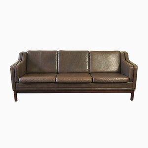 Mid-Century Danish Leather 3-Seater Sofa, 1960s