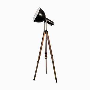 Black Enamel Vintage Industrial Spotlight on Wooden Tripod