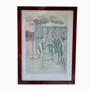 The Old & The Three Young Men Lithografie von Christian Caillard, 1960er