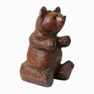Escultura de oso negro de madera de bosque, años 30