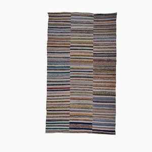 Vintage Striped Turkish Rag Rug, 1970s