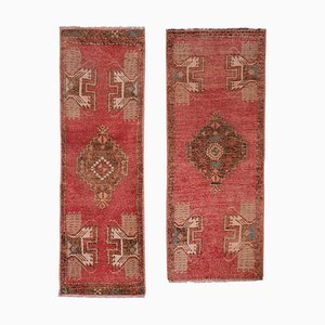 Vintage Turkish Oushak Yastik Scatter Rugs, 1970s, Set of 2