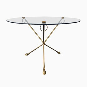 Glass & Brass Coffee Table with Tripod Legs in the Shape of Hoofs, 1970s