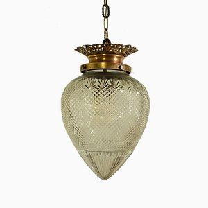 Lanterne Antique Art Nouveau en Verre & Bronze Forme Pinecone