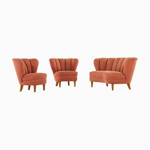 Swedish Seating Group in the Style of Otto Schulz, 1940s, Set of 3
