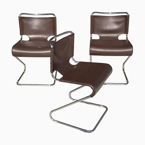 French Brown Model Biscia Chairs by Pascal Mourgue for Édition Steiner, 1960s, Set of 3