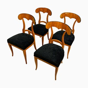 Biedermeier Shovel Chairs in Cherry Veneer, South Germany, 1820s, Set of 4