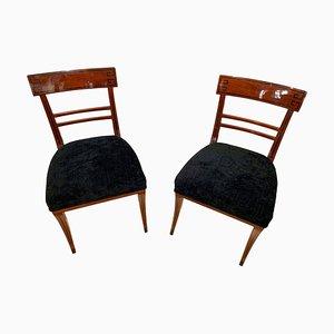 Neoclassical Side Chair in Mahogany, Ebony & Velvet, Vienna, 1820s