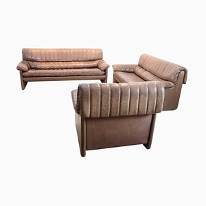 DS-86 Living Room Set in Soft Thick Brown Nck Leather from de Sede, 1970s, Set of 3