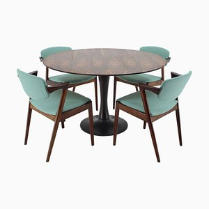 Rosewood Model 42 Dining Table & Chairs Set by Kai Kristiansen for Andersen Møbelfabrik, 1960s, Set of 5
