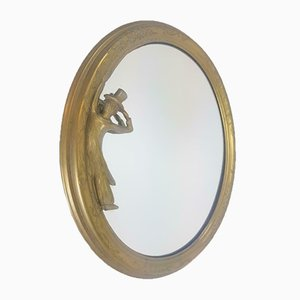 Art Deco Brass Oval Mirror from FAL Italy