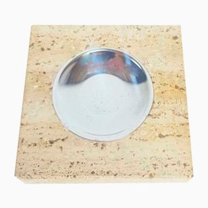 Vintage Travertine & Stainless Steel Ashtray by Fratelli Mannelli, 1970s