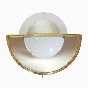 Vintage Milchglas, Lucite & Messing Wandlampe von WKR Leuchten, 1970er