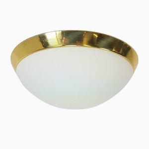 Vintage Milk Glass & Brass Ceiling Lamp from Limburg Glashutte