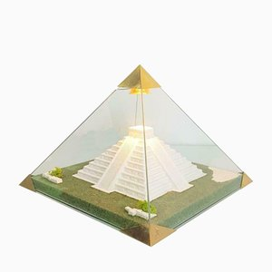 Vintage Lucite & Brass Creation Pyramid Table Lamp by P. Bourguignon
