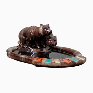 Ceramic Bears Ashtray from Komlos, 1930s