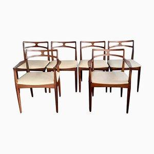 Sedie da pranzo in palissandro di Johannes Andersen, Danimarca, anni '60, set di 6