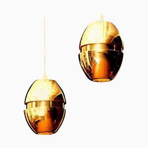 Lámparas colgantes Egg de latón de Hans-Agne Jakobsson, años 50. Juego de 2