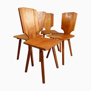 S28 Dining Chairs in Elm by Pierre Chapo, 1970s, Set of 4