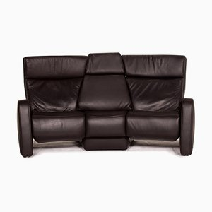 Dark Brown Leather Trapeze 3-Seat Sofa from Himolla