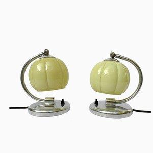 Art-Déco Aluminium Nachttisch Lampen, 2er Set