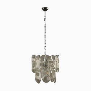 Vintage Italian Metal and Blown Glass Ceiling Lamp
