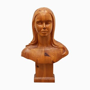 French Women Bust Sculpture Marianne Goddess of Liberty in Solid Wood, 1960s