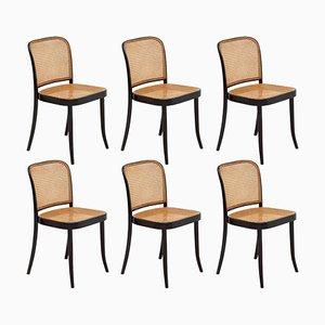 Bugholz Rohrstock Esszimmerstühle von Josef Hoffmann für Thonet, 1960er, 6er Set
