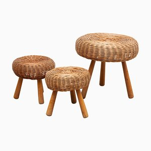 Wicker 3-Legged Stool in the Style of Charlotte Perriand, 1960s