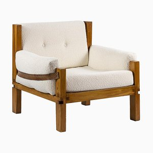 S15 Armchair in Elm & Leather by Pierre Chapo, 1960s