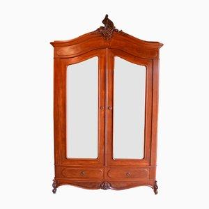 Large Antique Mahogany Mirror Wardrobe
