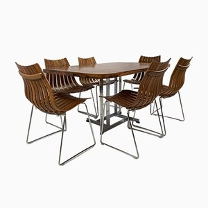 Scandia Dining Chairs & Table Set by Hans Brattrud for Hove Mobler, Set of 7