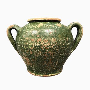 Antique French Glazed Dark Green Jug