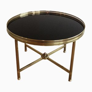 French Neoclassical Style Round Brass Coffee Table with Black Lacquered Top, 1940s