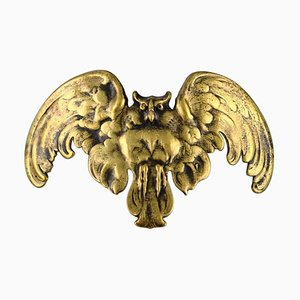 French Art Nouveau Bronze Owl Pendant by René Lalique